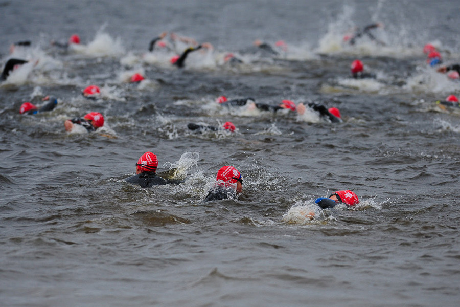 The swim is under way at the Two Provinces Triathlon
