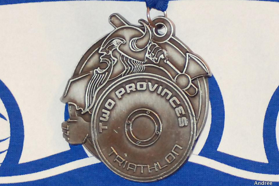 Two Provinces Triathlon Viking Warrior Medal. Photo by Andrée Gallagher